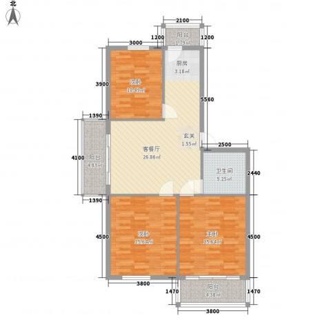 民生家园3室1厅1卫0厨84.87㎡户型图