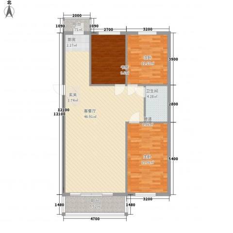 民生家园3室1厅1卫0厨95.09㎡户型图