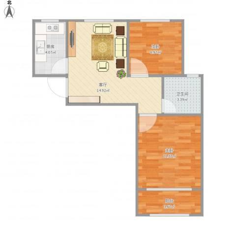 宝祁雅苑2室1厅1卫1厨61.00㎡户型图