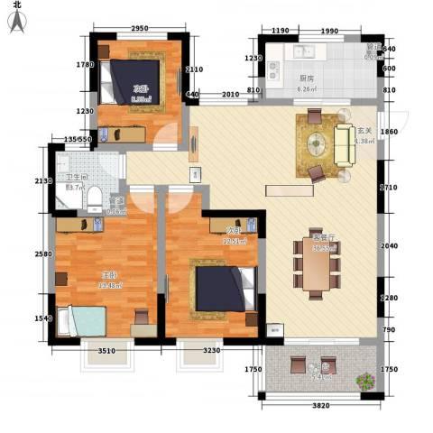 昌和时代3室1厅1卫1厨125.00㎡户型图