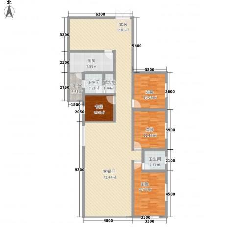 威华广场4室2厅2卫1厨176.00㎡户型图