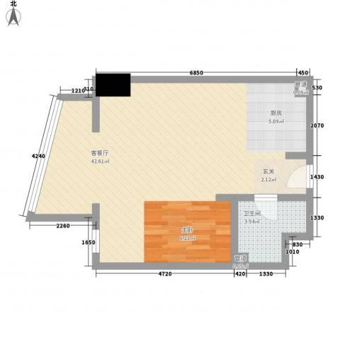 新华联丽港1厅1卫0厨69.00㎡户型图