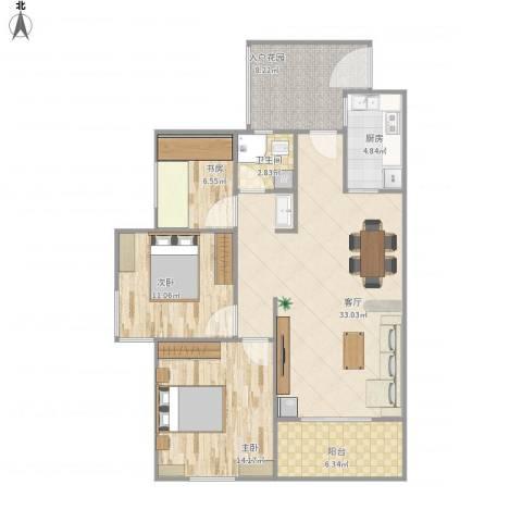 九州丽景苑3室1厅1卫1厨117.00㎡户型图