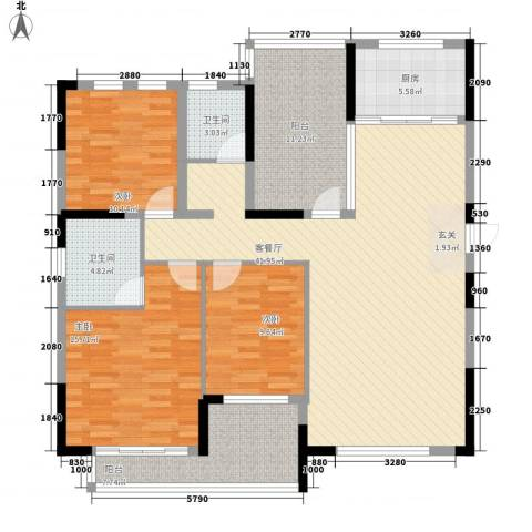 博林金谷四期3室1厅2卫1厨132.00㎡户型图
