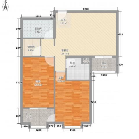上奥世纪中心2室1厅1卫1厨107.00㎡户型图
