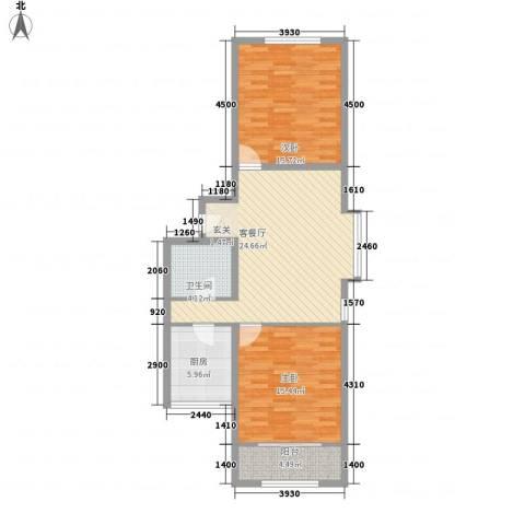 上奥世纪中心2室1厅1卫1厨102.00㎡户型图
