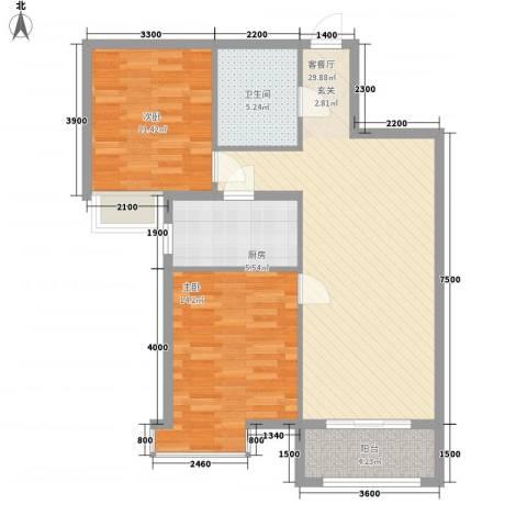 府东美奥花苑2室1厅1卫1厨70.51㎡户型图
