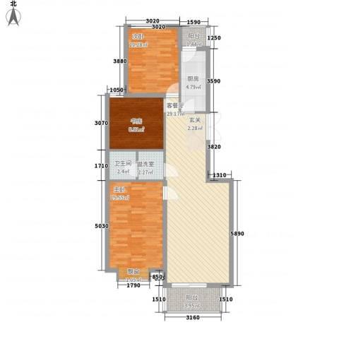 国泉城3室2厅1卫1厨112.00㎡户型图