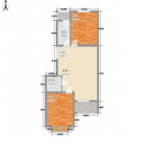 国泉城2室1厅1卫1厨65.98㎡户型图
