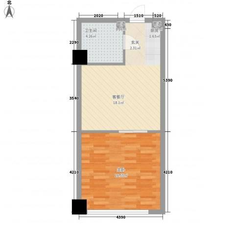 财富湾1室1厅1卫0厨55.00㎡户型图