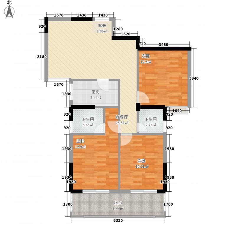 茶园山庄115.00㎡茶园山庄户型图2#楼04户型3室1厅2卫1厨户型3室1厅2卫1厨