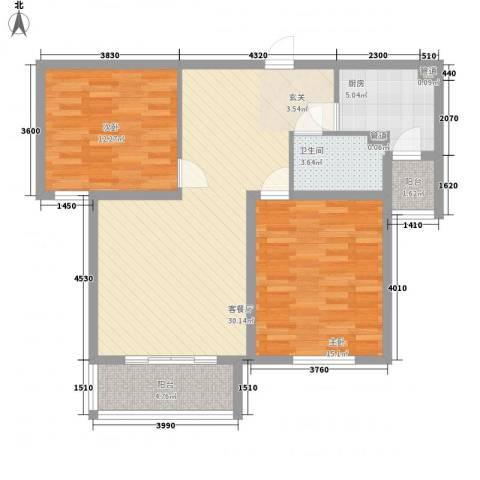 财富湾2室1厅1卫1厨104.00㎡户型图