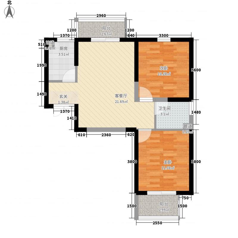 新城林湾74.50㎡6#楼两居户型2室2厅1卫1厨
