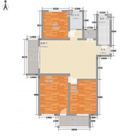 财富湾3室1厅1卫1厨135.00㎡户型图