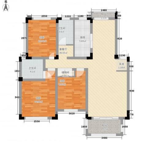 凡尔赛公馆3室1厅2卫1厨130.00㎡户型图