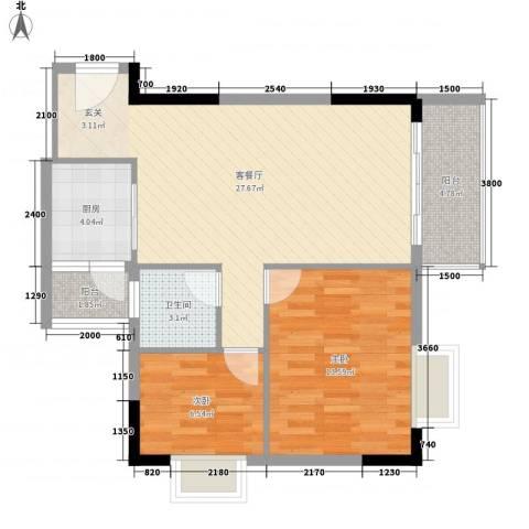 至尊豪苑2室1厅1卫1厨85.00㎡户型图
