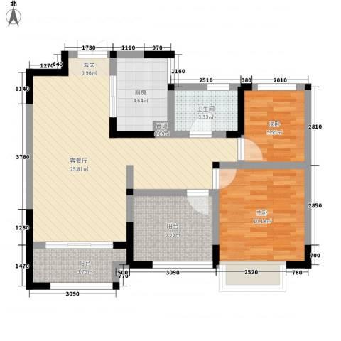 兰陵锦轩2室1厅1卫1厨89.00㎡户型图