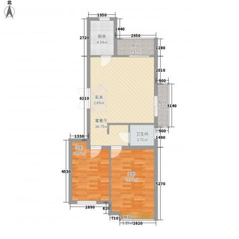 国泉城2室1厅1卫1厨65.59㎡户型图