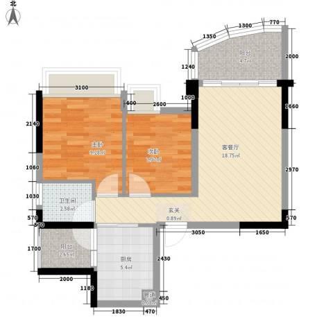 碧桂园椰城2室1厅1卫1厨58.81㎡户型图