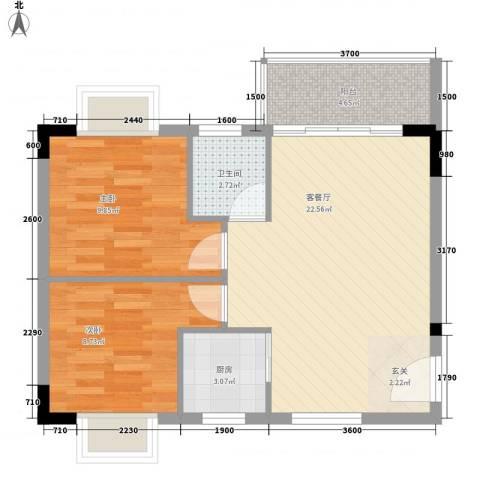 至尊豪苑2室1厅1卫1厨68.00㎡户型图