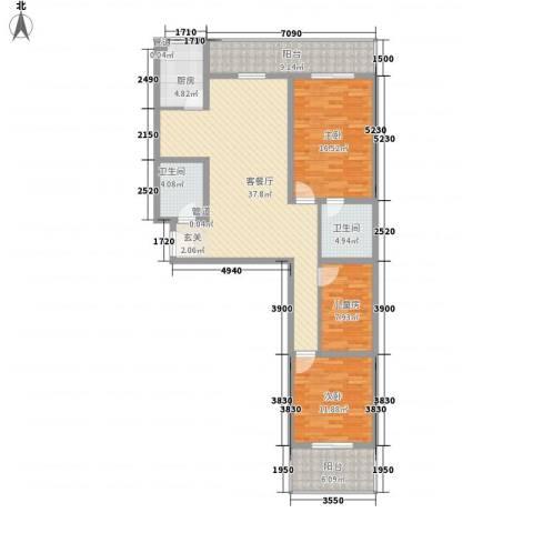 金基泰和苑3室1厅2卫1厨118.00㎡户型图