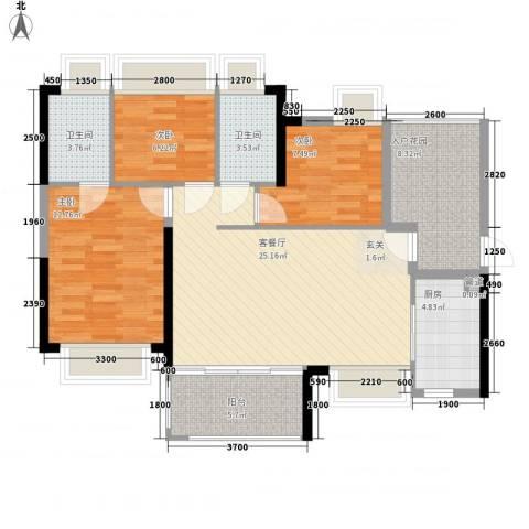 东江体育场3室1厅2卫1厨88.53㎡户型图