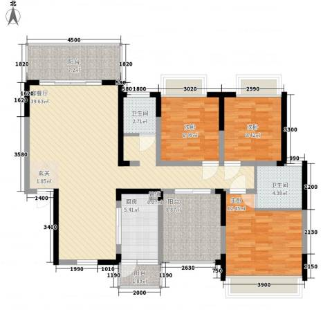东江体育场3室1厅2卫1厨114.78㎡户型图
