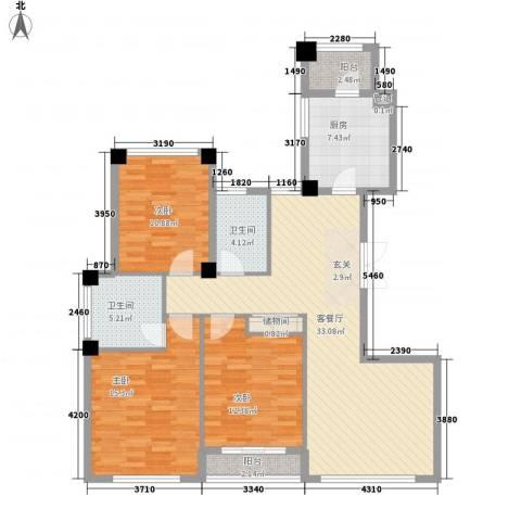 金港花园3室1厅2卫1厨135.00㎡户型图