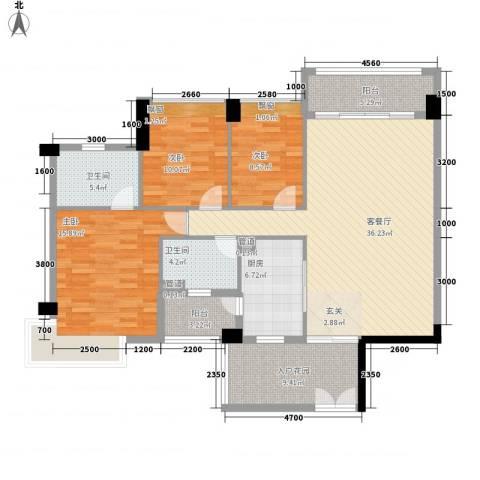 奥园海景城3室1厅2卫1厨125.00㎡户型图