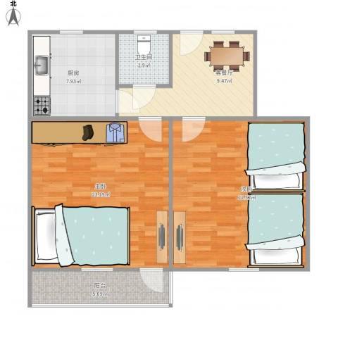 双菱新村10-3-5082室1厅1卫1厨95.00㎡户型图