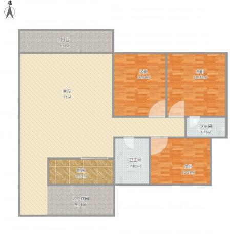 君悦新座26楼26033室1厅2卫1厨200.00㎡户型图