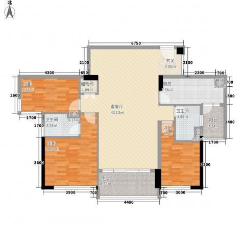 奥园海景城3室1厅2卫1厨137.00㎡户型图