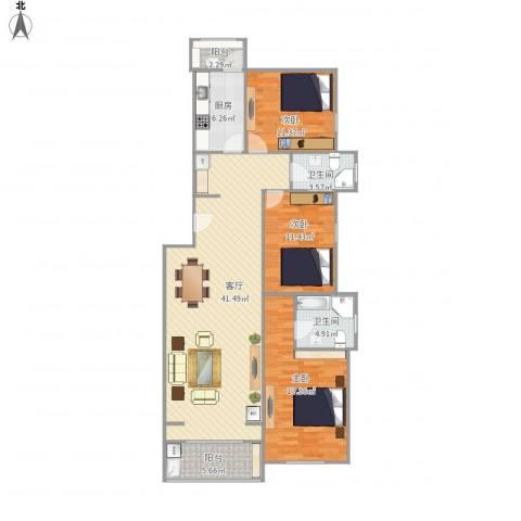 龙锦苑东三区3室1厅2卫1厨140.00㎡户型图