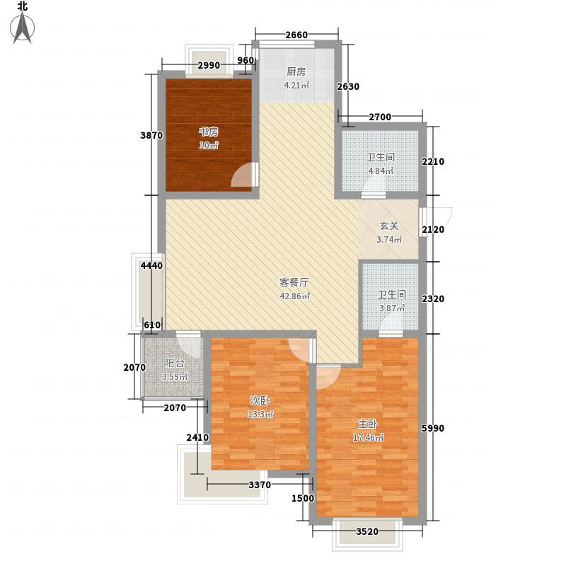 新侨花园135.00㎡峰景大宅A户型2室2厅