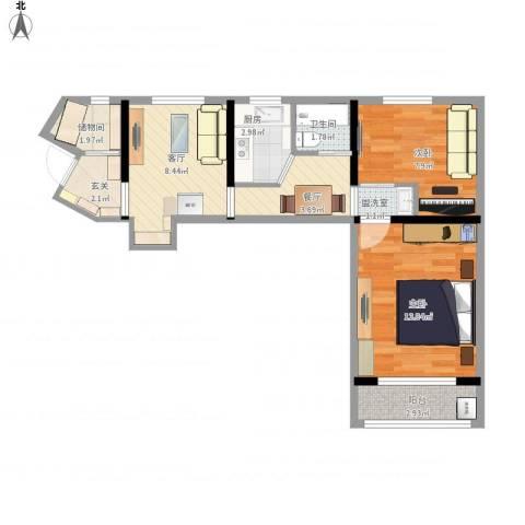真北三街坊2室3厅1卫1厨67.00㎡户型图