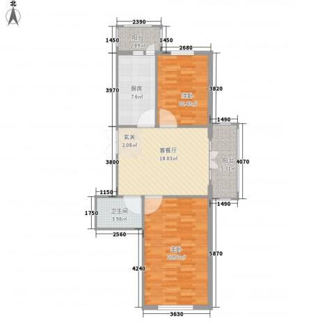 闻达绿都2室1厅1卫1厨68.31㎡户型图