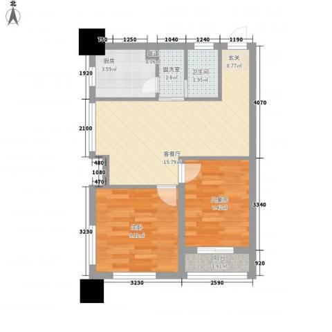 阳光金峰阁2室2厅1卫1厨60.00㎡户型图