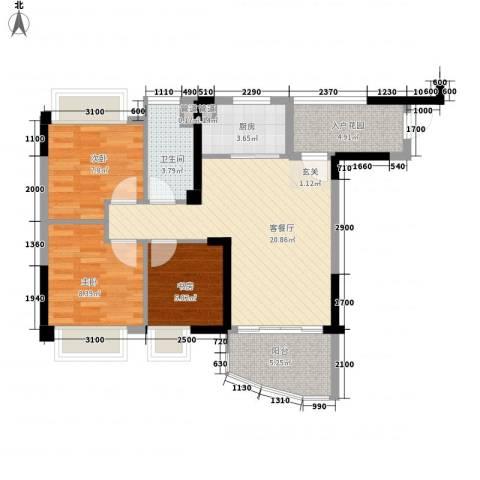 碧桂园椰城3室1厅1卫1厨70.33㎡户型图