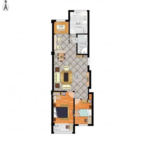 黄海小区1333室1厅1卫1厨106.00㎡户型图