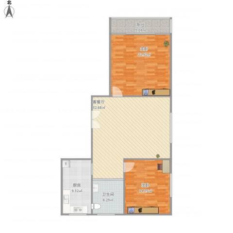 紫薇园2房92平3号16082室1厅1卫1厨120.00㎡户型图