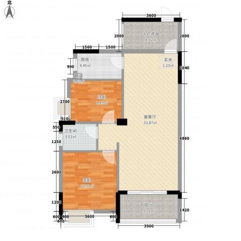 市场公寓2室1厅1卫1厨103.00㎡户型图