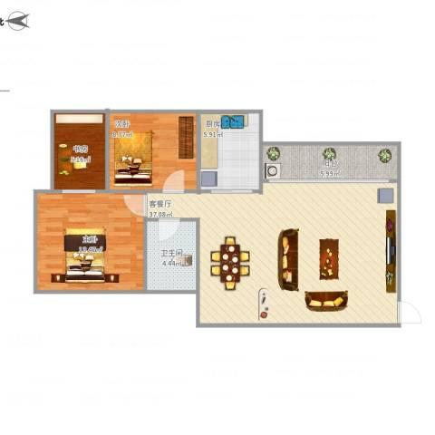 江滨花园3室1厅1卫1厨108.00㎡户型图