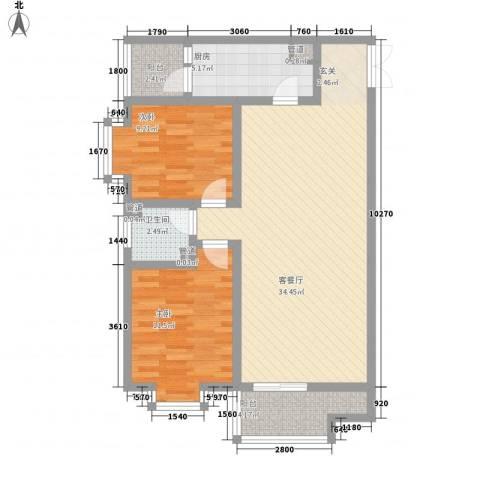 曲江哈佛公馆2室1厅1卫1厨69.75㎡户型图