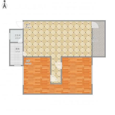 荣浩花园1室1厅1卫1厨101.00㎡户型图