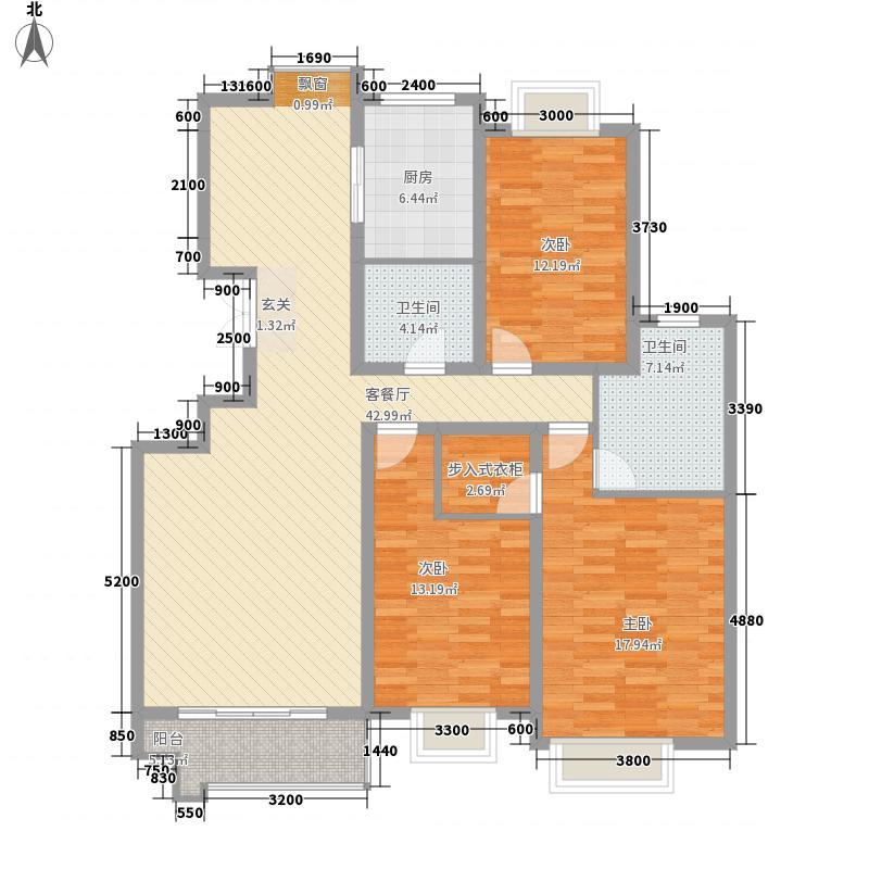 彩虹湖3室1厅2卫1厨145.00㎡户型图