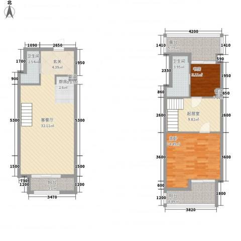 软件园公寓2室1厅2卫0厨81.52㎡户型图