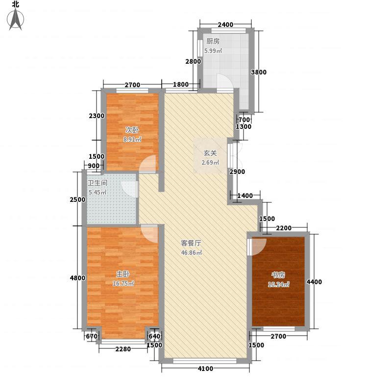 祥云经典131.00㎡1#户型3室2厅2卫1厨