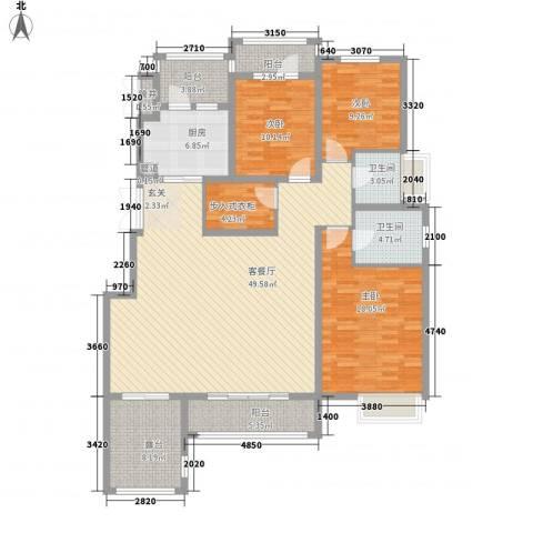 天山熙湖3室1厅2卫1厨144.00㎡户型图