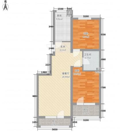 七星九龙湾2室1厅1卫1厨91.00㎡户型图