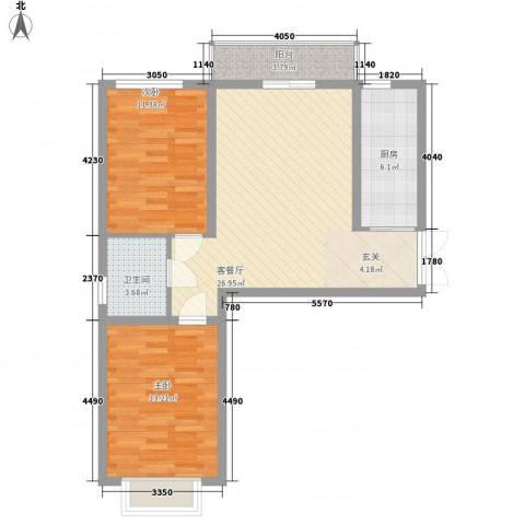 青云景苑2室1厅1卫1厨65.11㎡户型图